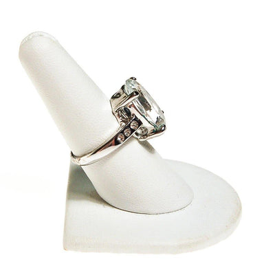 Huge Oval CZ Statement Ring set in Silver Tone by Unsigned Beauty - Vintage Meet Modern Vintage Jewelry - Chicago, Illinois - #oldhollywoodglamour #vintagemeetmodern #designervintage #jewelrybox #antiquejewelry #vintagejewelry