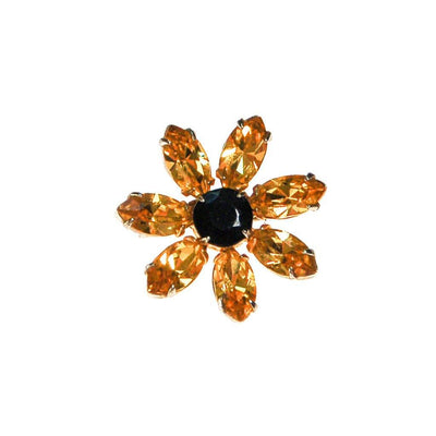 Yellow and Black Rhinestone Sunflower Scatter Pin by Unsigned Beauty - Vintage Meet Modern Vintage Jewelry - Chicago, Illinois - #oldhollywoodglamour #vintagemeetmodern #designervintage #jewelrybox #antiquejewelry #vintagejewelry