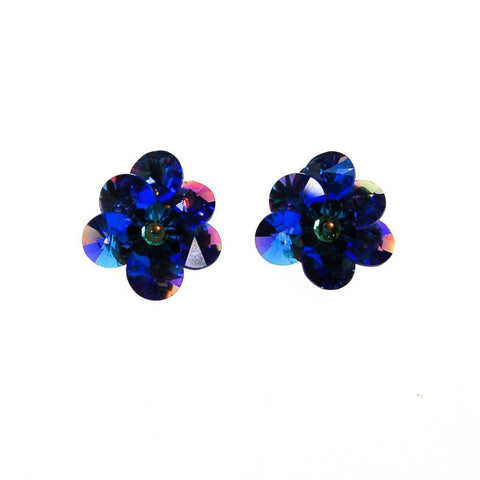 Blue Cha Cha  Bead Dangling Rhinestone Earrings
