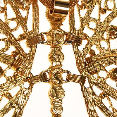 DEC Delizza and Elster Butterfly Pendant Necklace, Massive, Articulated, Gold Wings, Designer by DEC Delizza and Elster - Vintage Meet Modern Vintage Jewelry - Chicago, Illinois - #oldhollywoodglamour #vintagemeetmodern #designervintage #jewelrybox #antiquejewelry #vintagejewelry