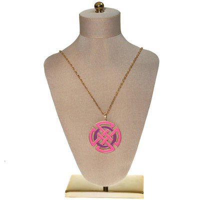 Crown Trifari Modernist Medallion Necklace, Pink, Purple, and Gold by Crown Trifari - Vintage Meet Modern Vintage Jewelry - Chicago, Illinois - #oldhollywoodglamour #vintagemeetmodern #designervintage #jewelrybox #antiquejewelry #vintagejewelry