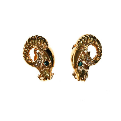 KJL Gold Ram Earrings, Clip-On by KJL for Avon - Vintage Meet Modern Vintage Jewelry - Chicago, Illinois - #oldhollywoodglamour #vintagemeetmodern #designervintage #jewelrybox #antiquejewelry #vintagejewelry
