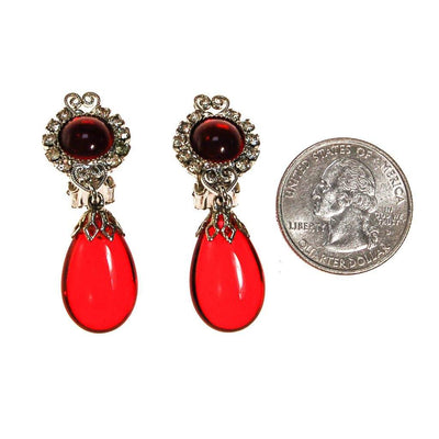 Red Crystal and Rhinestone Earrings, Clip On, Dangling Drop by unsigned - Vintage Meet Modern Vintage Jewelry - Chicago, Illinois - #oldhollywoodglamour #vintagemeetmodern #designervintage #jewelrybox #antiquejewelry #vintagejewelry