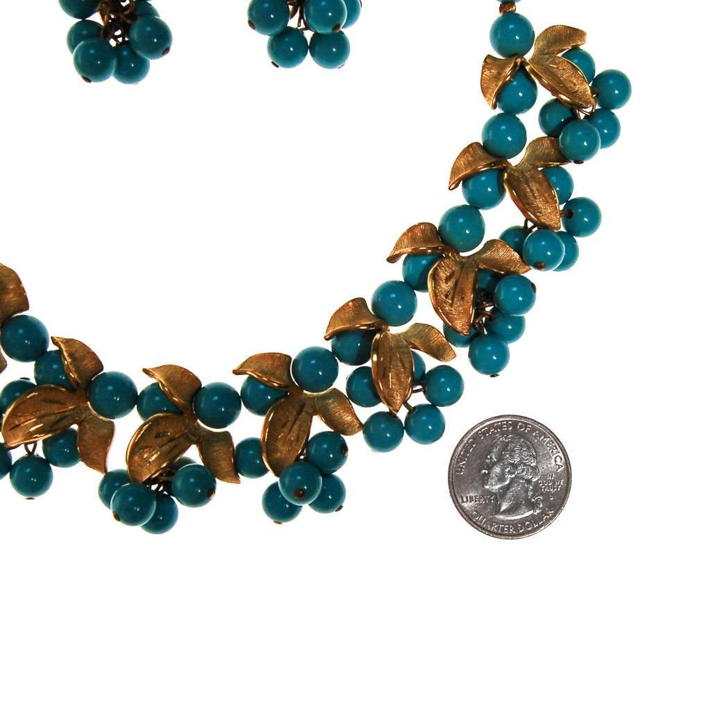 Kramer Turquoise Beads and Gold Leaves Necklace and Earrings Set, necklace and earring set - Vintage Meet Modern