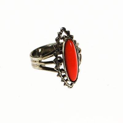 Faux Coral Statement Ring, Silver Tone by unsigned - Vintage Meet Modern - Chicago, Illinois