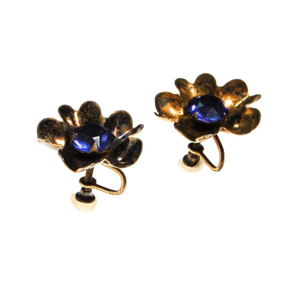 Antique Sterling Silver Flower Earrings with Sapphire Blue Rhinestone Centers