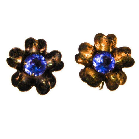 1980's Gold Tone Cable Rhinestone Clip Earrings