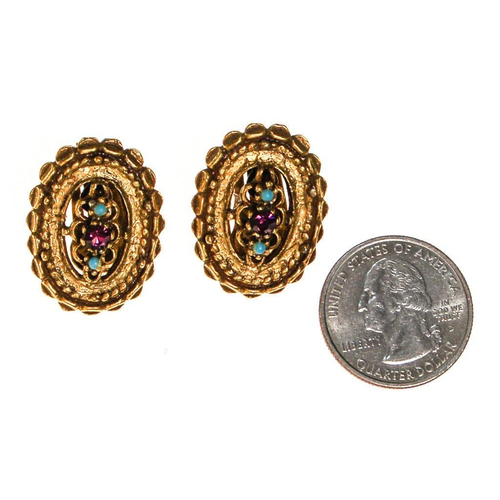 Antique Gold Tone Oval Earrings with Purple and Turquoise Rhinestones