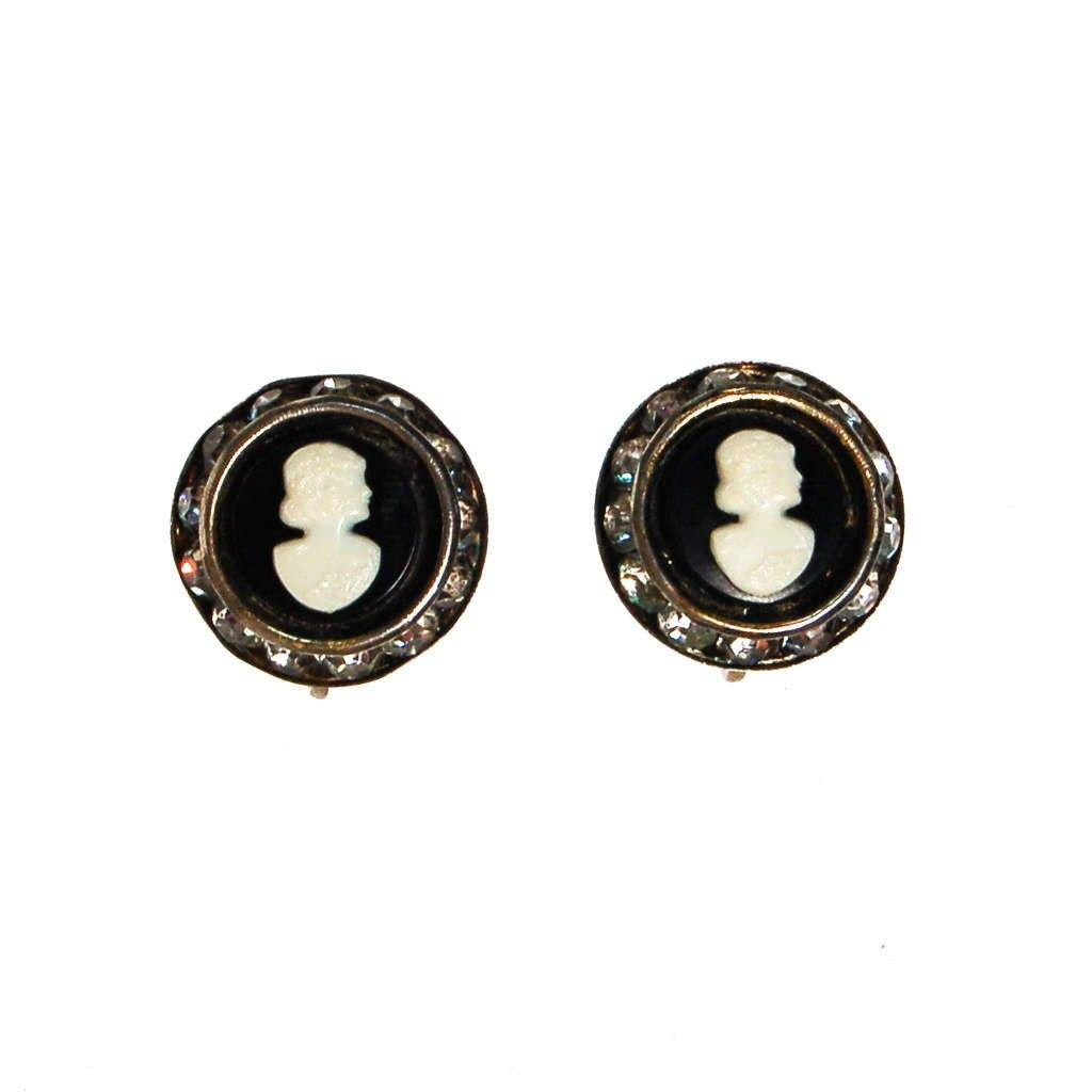 Black and White Cameo Earrings with Rhinestones