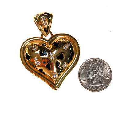 Alana Stewart Gold Puffy Heart Necklace Pendant, Leopard Print and Rhinestones, Reversible by Alana Stewart - Vintage Meet Modern Vintage Jewelry - Chicago, Illinois - #oldhollywoodglamour #vintagemeetmodern #designervintage #jewelrybox #antiquejewelry #vintagejewelry