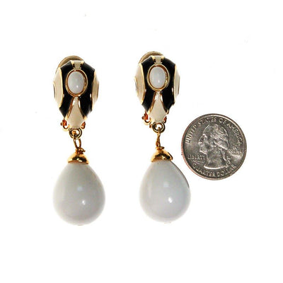 Les Bernard Dangling Black and White Statement Earrings by Les Bernard - Vintage Meet Modern Vintage Jewelry - Chicago, Illinois - #oldhollywoodglamour #vintagemeetmodern #designervintage #jewelrybox #antiquejewelry #vintagejewelry