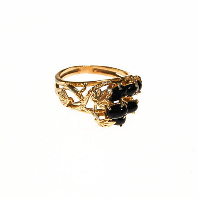 Black Onyx and Gold Tone Ring by Unsigned Beauty - Vintage Meet Modern Vintage Jewelry - Chicago, Illinois - #oldhollywoodglamour #vintagemeetmodern #designervintage #jewelrybox #antiquejewelry #vintagejewelry