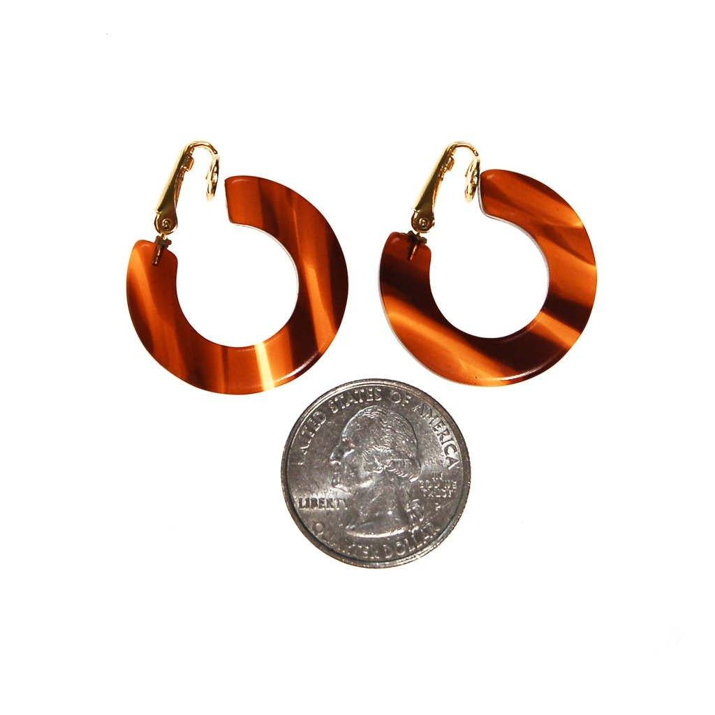 Faux Tortoise Lucite Hoop Earrings