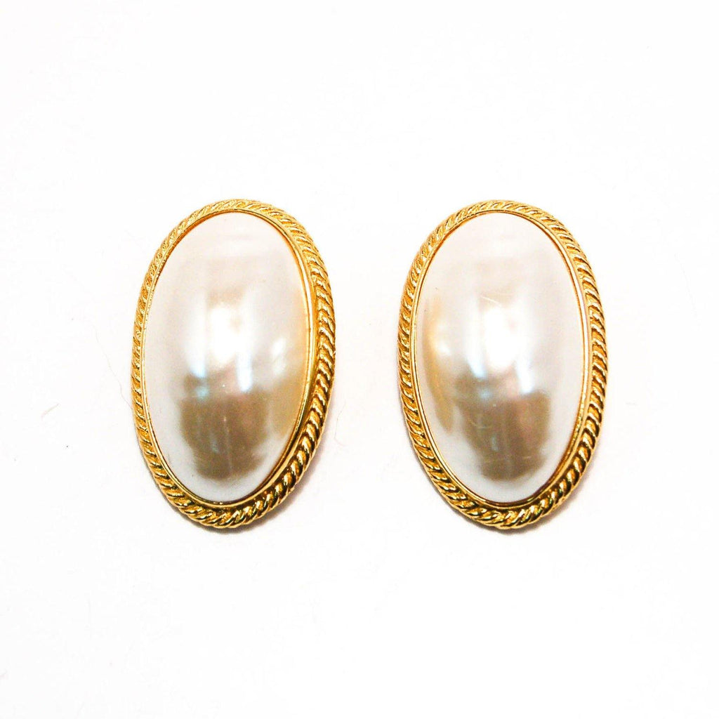 Givenchy Mabe Pearl Earrings, Large Oval, Oversized, Couture, Designer, Runway, Clip On