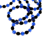 Art Deco Blue and Jet Black Faceted Crystal Bead Necklace, necklace - Vintage Meet Modern