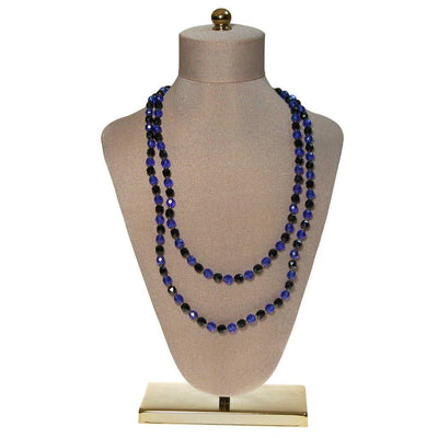 Art Deco Blue and Jet Black Faceted Crystal Bead Necklace by unsigned - Vintage Meet Modern Vintage Jewelry - Chicago, Illinois - #oldhollywoodglamour #vintagemeetmodern #designervintage #jewelrybox #antiquejewelry #vintagejewelry