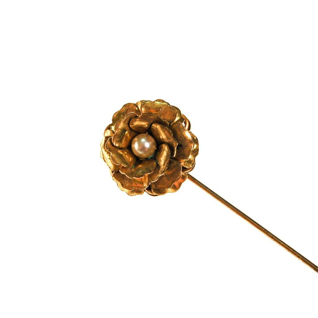 Miriam Haskell Gold Flower Stick Pin