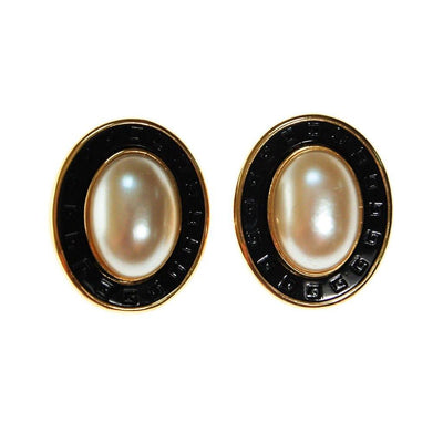 Givenchy Couture Black, Gold, and Faux Pearl Oval Statement Earrings by Givenchy - Vintage Meet Modern Vintage Jewelry - Chicago, Illinois - #oldhollywoodglamour #vintagemeetmodern #designervintage #jewelrybox #antiquejewelry #vintagejewelry