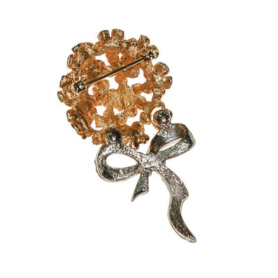 Bouquet of Posies Brooch, Gold Tone, Rhinestones, Bow by Unsigned Beauty - Vintage Meet Modern Vintage Jewelry - Chicago, Illinois - #oldhollywoodglamour #vintagemeetmodern #designervintage #jewelrybox #antiquejewelry #vintagejewelry