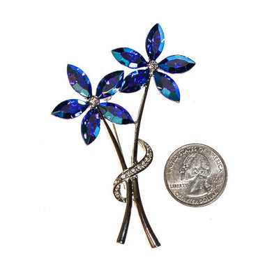 Blue Rhinestone Flower Brooch, Pin, Silver Tone by Unsigned Beauty - Vintage Meet Modern - Chicago, Illinois