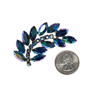 Blue Rhinestone Brooch by Unsigned Beauty - Vintage Meet Modern - Chicago, Illinois