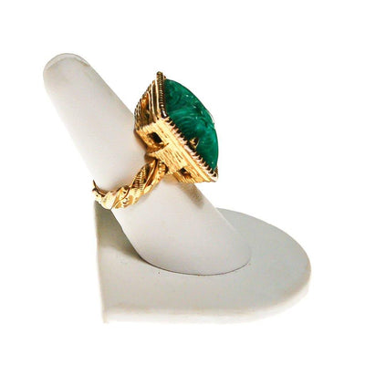 Carved Faux Jade Statement Ring, Gold Tone, Braided Band by unsigned - Vintage Meet Modern Vintage Jewelry - Chicago, Illinois - #oldhollywoodglamour #vintagemeetmodern #designervintage #jewelrybox #antiquejewelry #vintagejewelry