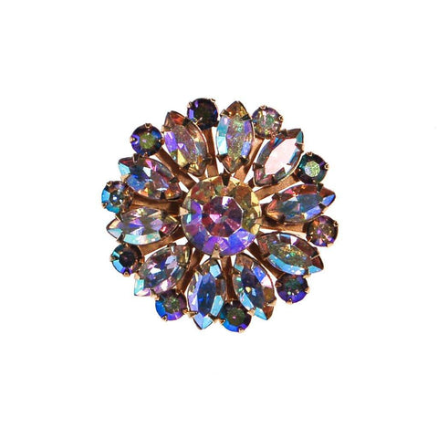 Blue Rhinestone Brooch