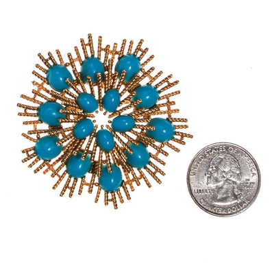 Avon Gold Atomic Burst Brooch with Turquoise Lucite Cabochons by Avon - Vintage Meet Modern Vintage Jewelry - Chicago, Illinois - #oldhollywoodglamour #vintagemeetmodern #designervintage #jewelrybox #antiquejewelry #vintagejewelry