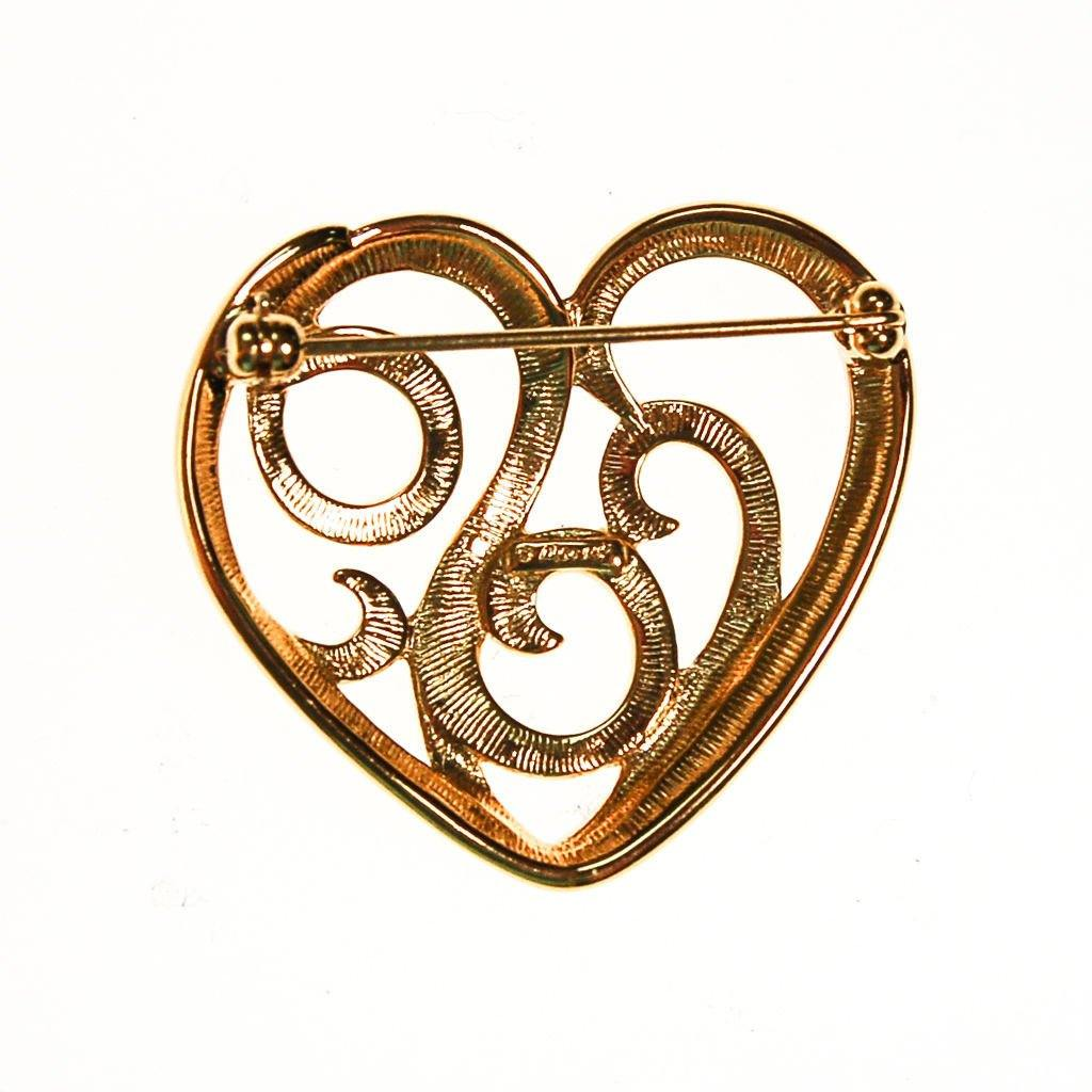 Gold Monet Heart Brooch