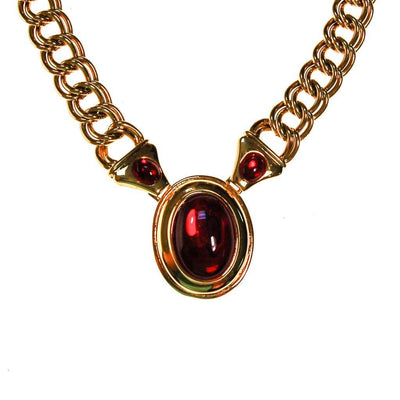 Napier Gold and Red Mogul Style Statement Necklace by Napier - Vintage Meet Modern Vintage Jewelry - Chicago, Illinois - #oldhollywoodglamour #vintagemeetmodern #designervintage #jewelrybox #antiquejewelry #vintagejewelry