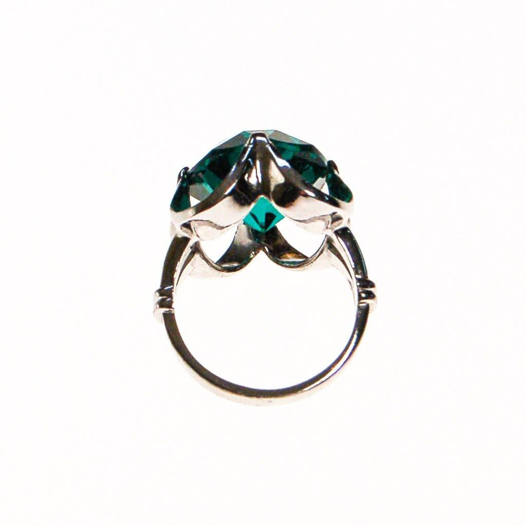 Emerald Green Crystal Statement Ring set in Sterling Silver