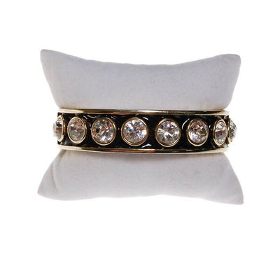 Givenchy Couture Rhinestone Black Enamel and Gold Bangle Bracelet by Givenchy - Vintage Meet Modern Vintage Jewelry - Chicago, Illinois - #oldhollywoodglamour #vintagemeetmodern #designervintage #jewelrybox #antiquejewelry #vintagejewelry