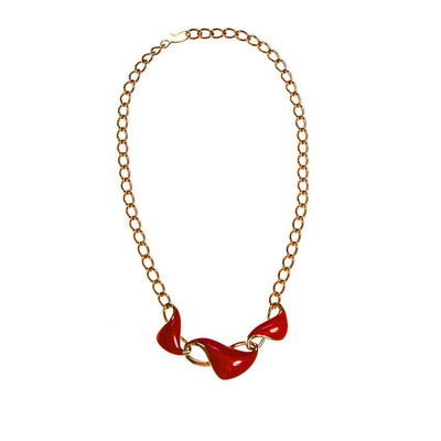 Monet Red Enamel and Gold Chain Link Necklace by Monet - Vintage Meet Modern - Chicago, Illinois