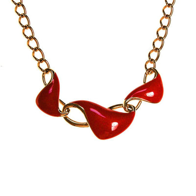 Monet Red Enamel and Gold Chain Link Necklace by Monet - Vintage Meet Modern Vintage Jewelry - Chicago, Illinois - #oldhollywoodglamour #vintagemeetmodern #designervintage #jewelrybox #antiquejewelry #vintagejewelry
