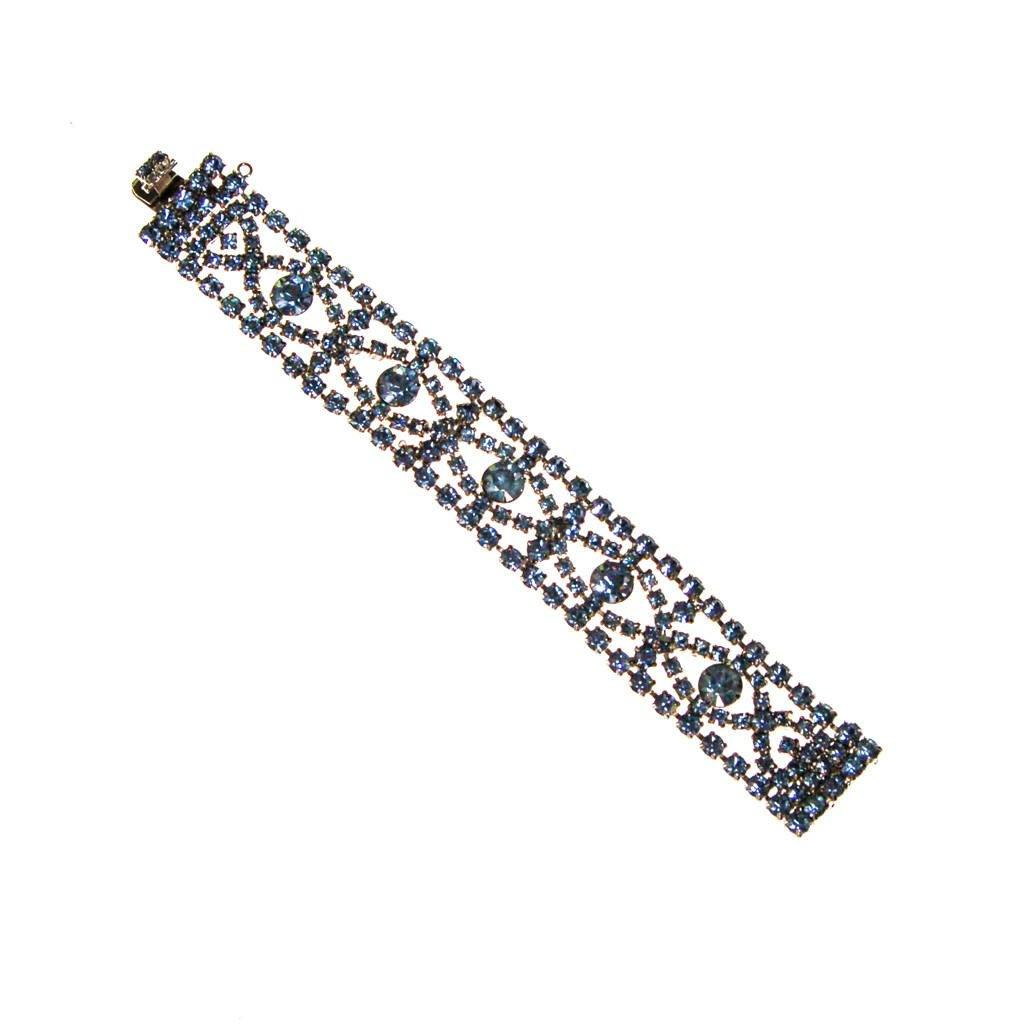 Art Deco Light Blue Rhinestone Bracelet, Silver Tone Setting