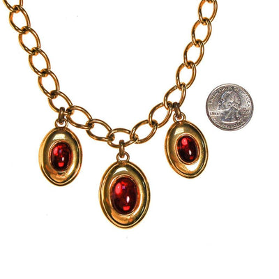 Napier Charm Necklace with Red Garnet Lucite Cabochons by Napier - Vintage Meet Modern Vintage Jewelry - Chicago, Illinois - #oldhollywoodglamour #vintagemeetmodern #designervintage #jewelrybox #antiquejewelry #vintagejewelry