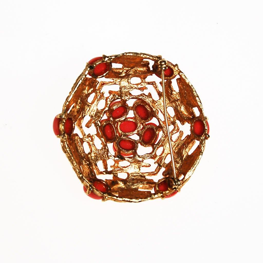 Coral Cabochons on a Gold Medallion Brooch