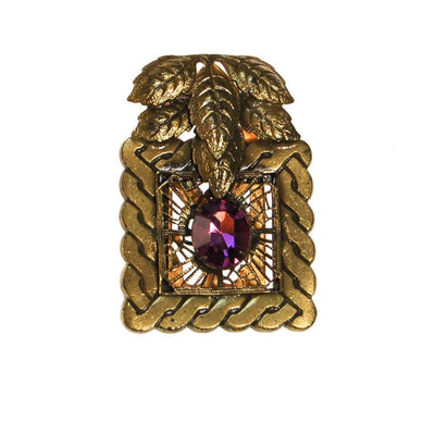 Antique Gold Tone Dress Clip with Amethyst Rhinestone by unsigned - Vintage Meet Modern Vintage Jewelry - Chicago, Illinois - #oldhollywoodglamour #vintagemeetmodern #designervintage #jewelrybox #antiquejewelry #vintagejewelry