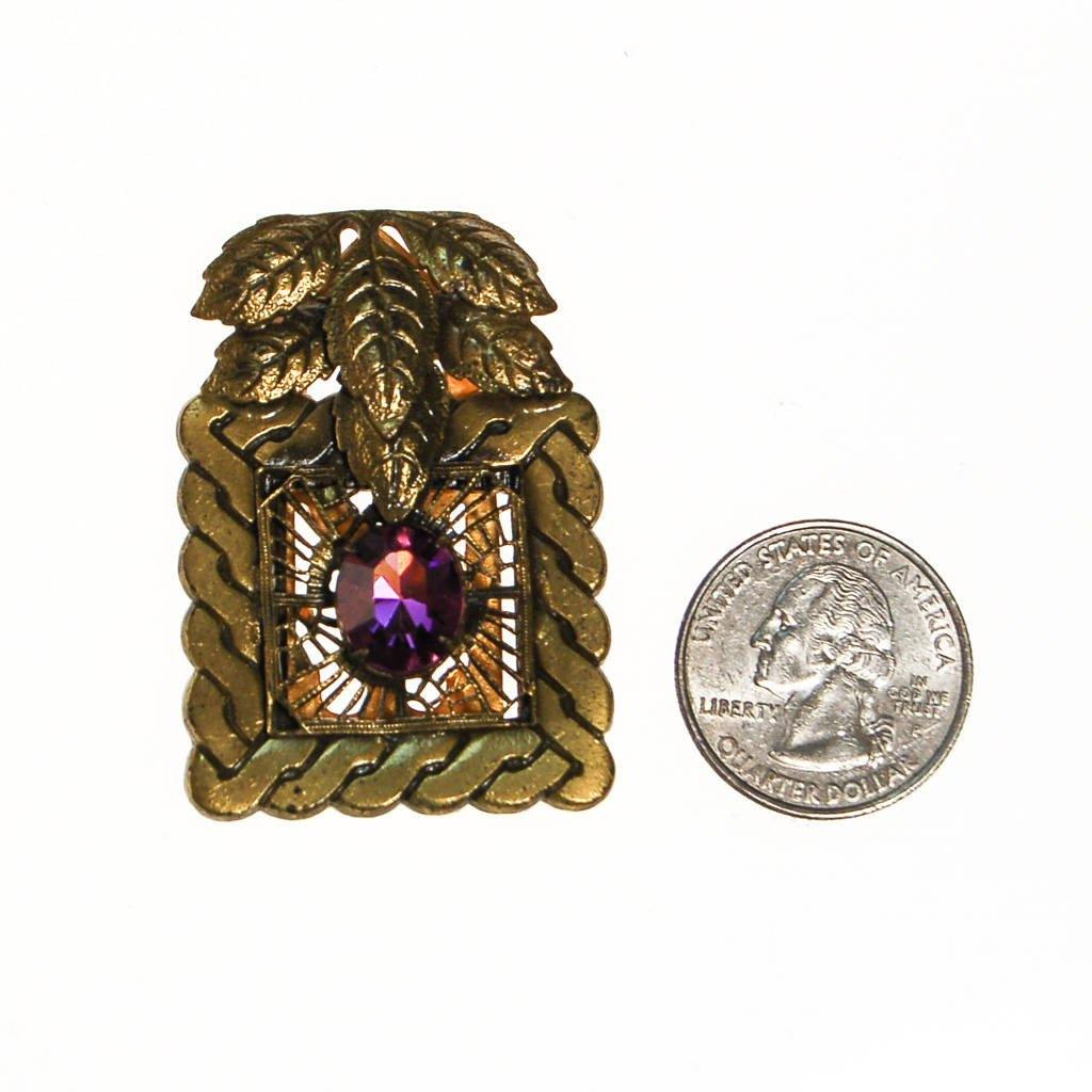Antique Gold Tone Dress Clip with Amethyst Rhinestone