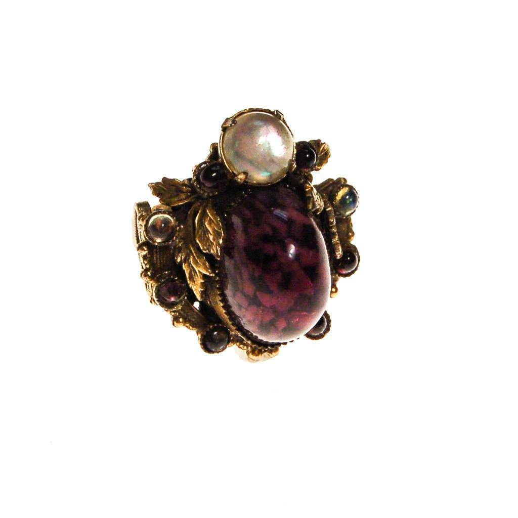 Amethyst Art Glass and Opal Glass Cabochon Statement Ring
