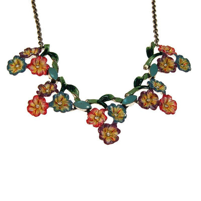 1940s Coro Colorful Painted Enamel Flower Necklace by Coro - Vintage Meet Modern Vintage Jewelry - Chicago, Illinois - #oldhollywoodglamour #vintagemeetmodern #designervintage #jewelrybox #antiquejewelry #vintagejewelry