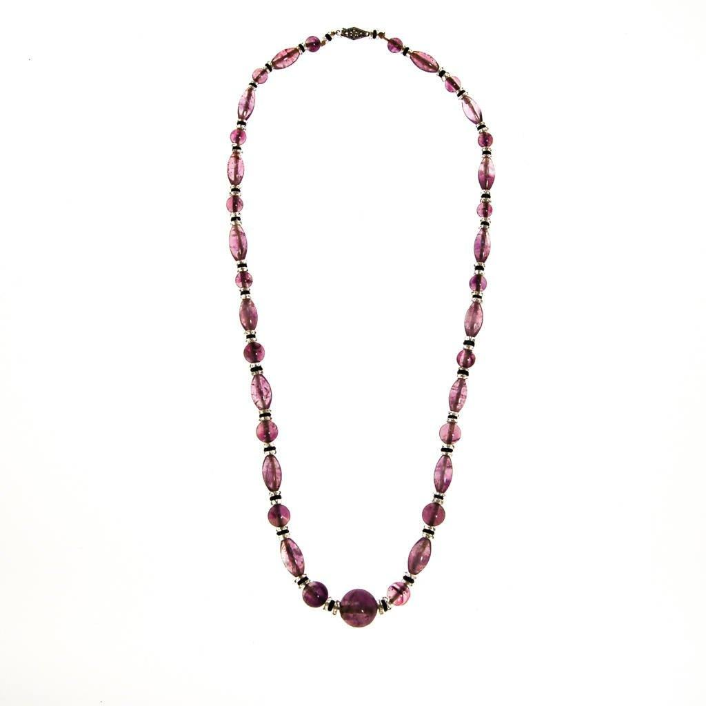 Art Deco Amethyst Crystal Bead Necklace, Hint of Jet Black