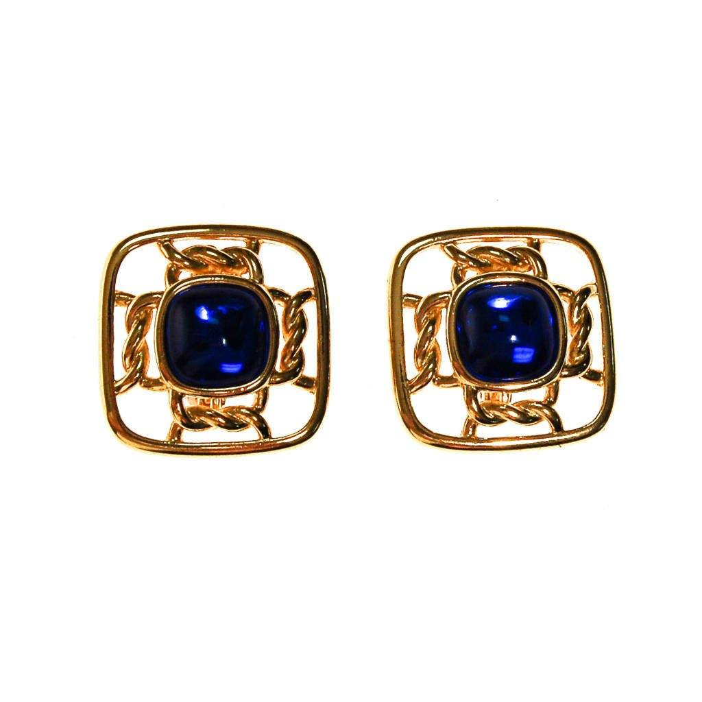 Gold Square with Sapphire Blue Cabochons by Crown Trifari