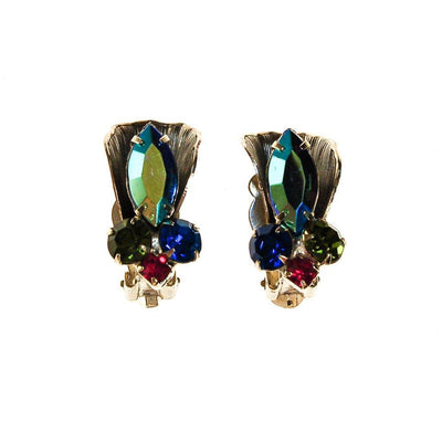 Colorful Rhinestone Earrings with Blue Aurora Borealis, Green, Pink, Rhinestones, 1950s, 1960s Era by Mid Century Modern - Vintage Meet Modern Vintage Jewelry - Chicago, Illinois - #oldhollywoodglamour #vintagemeetmodern #designervintage #jewelrybox #antiquejewelry #vintagejewelry