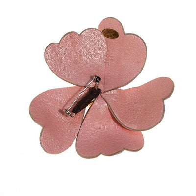 Pink leather flower brooch with Fresh Water Pearls by Joseph Williams by Joseph Williams - Vintage Meet Modern - Chicago, Illinois