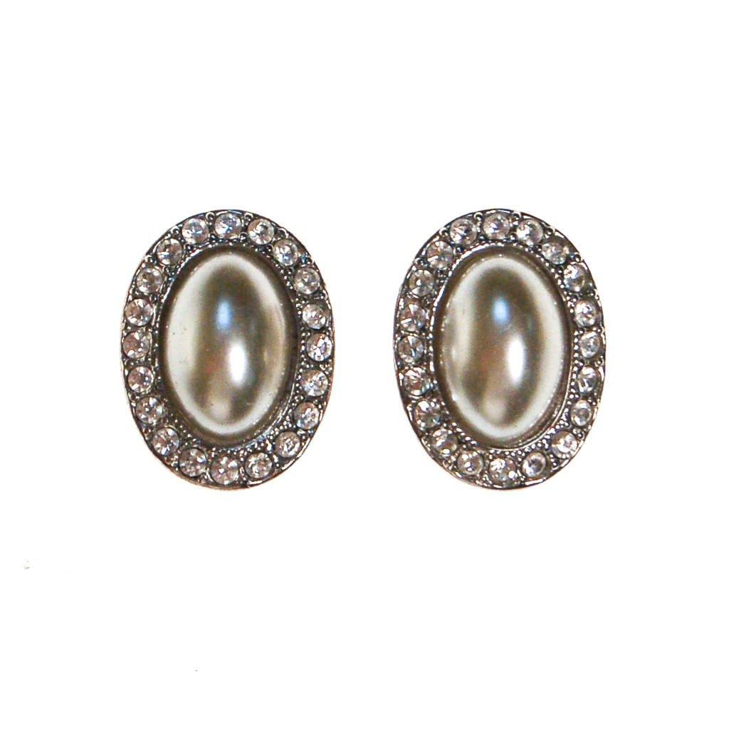 KJL Faux Pearl and Rhinestone Earrings