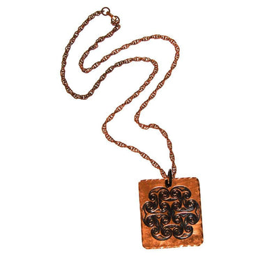1970s Bohemian Chic Square Copper Pendant Statement Necklace by unsigned - Vintage Meet Modern Vintage Jewelry - Chicago, Illinois - #oldhollywoodglamour #vintagemeetmodern #designervintage #jewelrybox #antiquejewelry #vintagejewelry