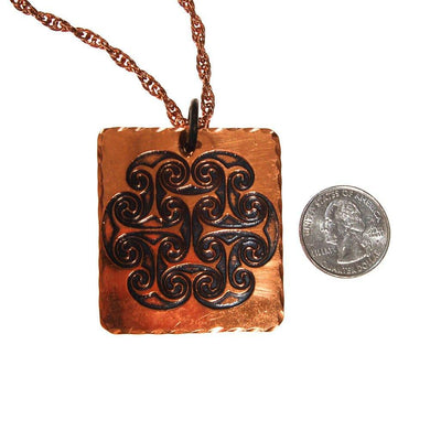 1970s Bohemian Chic Square Copper Pendant Statement Necklace by unsigned - Vintage Meet Modern - Chicago, Illinois