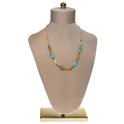 Rutilated Quartz, Shell, and Turquoise Bead Necklace by unsigned - Vintage Meet Modern Vintage Jewelry - Chicago, Illinois - #oldhollywoodglamour #vintagemeetmodern #designervintage #jewelrybox #antiquejewelry #vintagejewelry