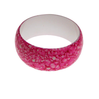 Pink and White Speckled Wide Bangle Bracelet by 1980s - Vintage Meet Modern - Chicago, Illinois